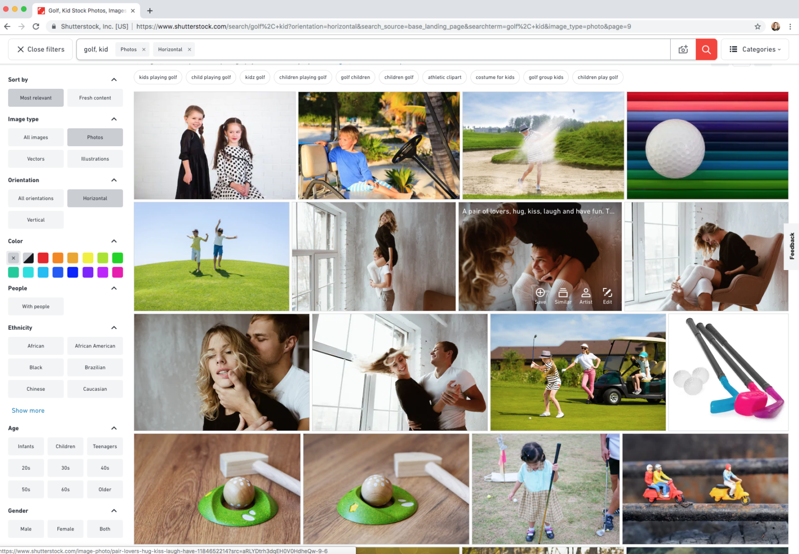 stock image search results example